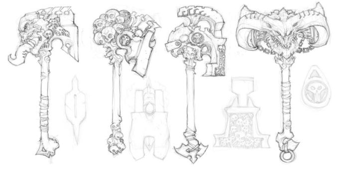 Darksiders II weapon concepts Hammers 5 by DawidFrederik