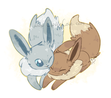 Shine Together Eevees by CloverCoin