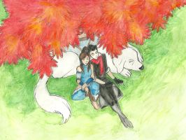 korra and mako under the tree by mel0mania