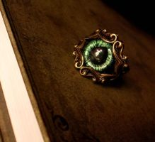 Armor Filigree Dragon Eye Ring - Gothic Bronze by LadyPirotessa