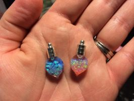 Floating Lab Created Opal Heart Drop Vials by Eviecats