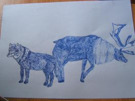 Wolf and reindeer by Roverdabummer