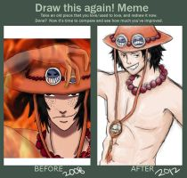 Before and After Meme: Portgas D. Ace by chinouta