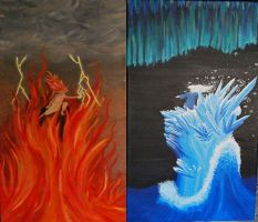 Fire And Ice - Traditional Art by HannahtheKitten