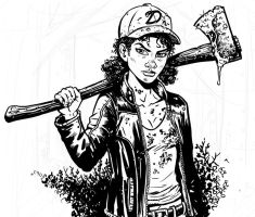 Older Clementine Walking Dead commission WIP by KR-Whalen