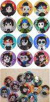 homestuck troll buttons by waltza