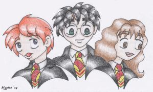 HP Trio Chibis by cardinalbiggles