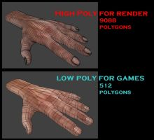 Low Poly and High Poly Version of the hand by DennisH2010