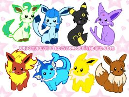 Eeveelution Keychains by XxPonyPuffPrincessXx