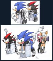 Sonic and Shadow commission by rocketXpert