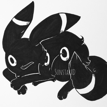 [Fanart] Sleepy Umbreon by SunstarXD