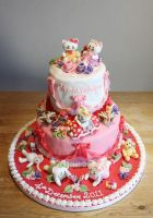 Hello Kitty Christening Cake by KatesKakes