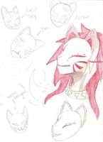 Kitsune with his mask by MiraMelancholy