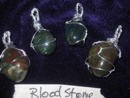 Blood Stone Pendats by WillowForrestall