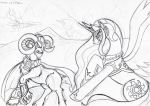 Celestia vs. Grogar - Sketch by Yula568