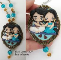 Aladin and Jasmine polymer clay cameo by elvira-creations