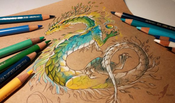 Forest dragon WIP by AlviaAlcedo