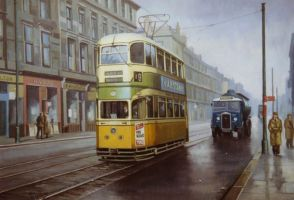 Glasgow tram in Sauchiehall St by Artistjeffries