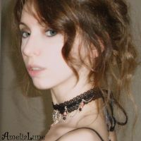 Lace and paper bead choker by AmeliaLune