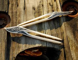Two Celtic Hair Forks by DreamingDragonDesign