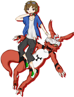 Digimon Collab: Matsuda Takato And Guilmon by juny-lee