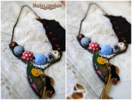Fabric decoupage bead lace key summer necklace by marakigr