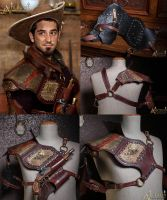 Steampunk Shoulder Armor with pistol holsters by Aetherwerk