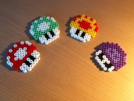 Mario Mushrooms Hama Beads by Kitsune0okami