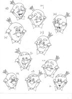 The Expressions of King Candy (text faces) by xSilverSymphony