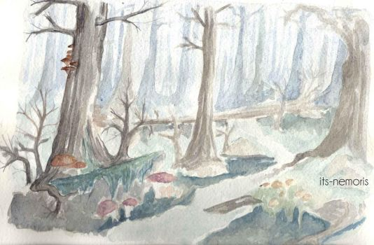 Watercolor study of the wood by its-nemoris