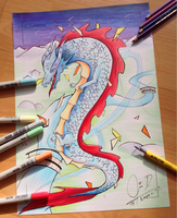 Copic Drawing - Chinese Dragon by ChocolateCookieX3