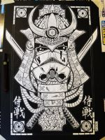 Samourai Wars white ink by tenshiflyers