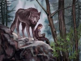 Arya and Nymeria by VVjonez