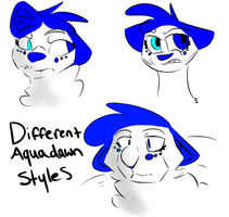Different Aquadawn styles by spazzyArtist1999