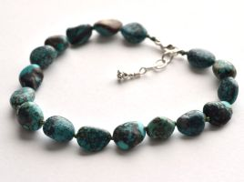 Knotted Turquoise Nugget Bracelet by lamorth-the-seeker