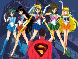 Superman VS Sailor Scouts by badger4r