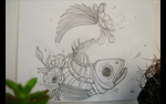 Fish Skeleton with Flowers by TailyCaos