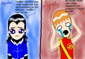 How they'll react: Speedy and Aqualad by BlackValentineBlush1