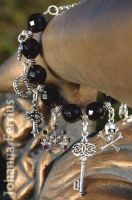 Gothic Dark Violet Bracelet with Charm pendants by Johanna-Ferrius