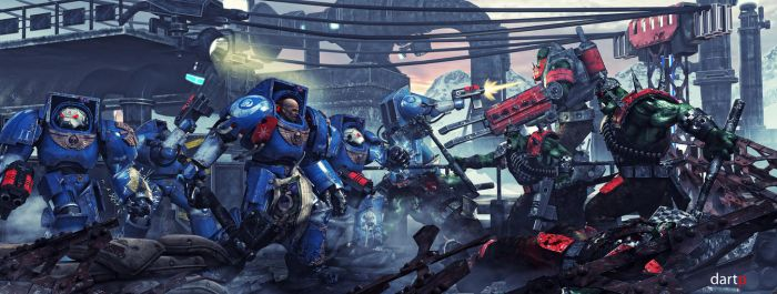 Ultramarines vs Orcs by DartP