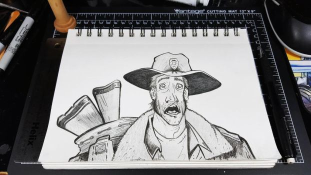 Pencil sketch of Rick Grimes from The Walking Dead by teckwolf