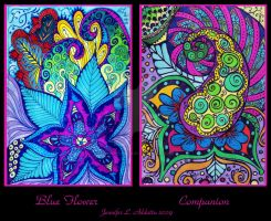 Blue Flower Companion Dyptich by PeriwinklePaisley