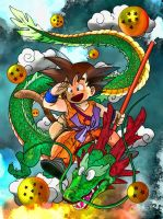 Sangoku and Shenron by Hamid91