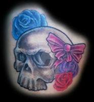 Skull with Roses and Bow by Mr-Taboo