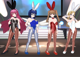 Shocking Pink girls bunnies by quamp