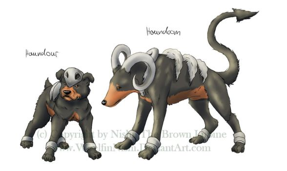 Houndour and Houndoom by WoelfinNishi