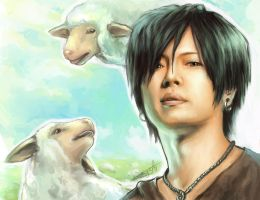 Gackt.Portrait with Sheep by ChantDeLaCorneille