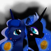 luna and princess nightmare moon(nighty) by hoyeechun