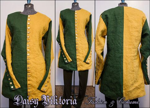 Green and Yellow Cotehardie Commission by DaisyViktoria