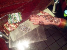 2014 mehndi design .toffee wrappers glitters by DearKhan